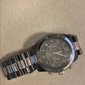 Silver and chrome black MK men's watch